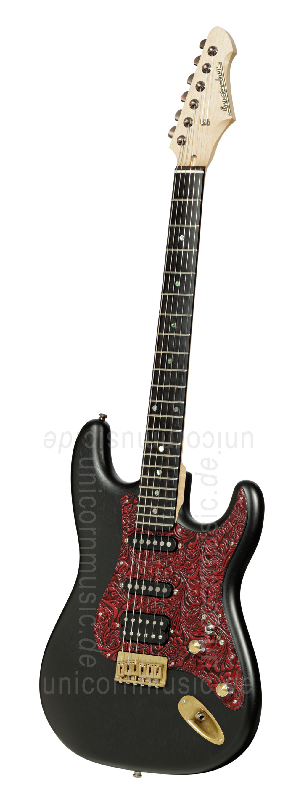 to article description / price Electric Guitar BERSTECHER Vintage 2018 - Black / Floral Red + hard case - made in Germany