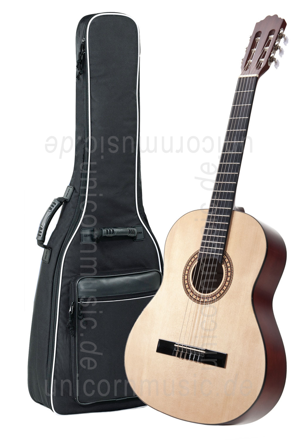 to article description / price Classical Guitar Beginners Set KIRKLAND - laminated spruce top - gigbag + stand + footstool