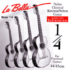 Large view Children's- Classical Guitar Strings Set 1/8 + 1/4 - LA BELLA 114 - normal Tension
