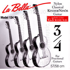 Large view Children's- Classical Guitar Strings Set 3/4 - LA BELLA 134 - normal Tension